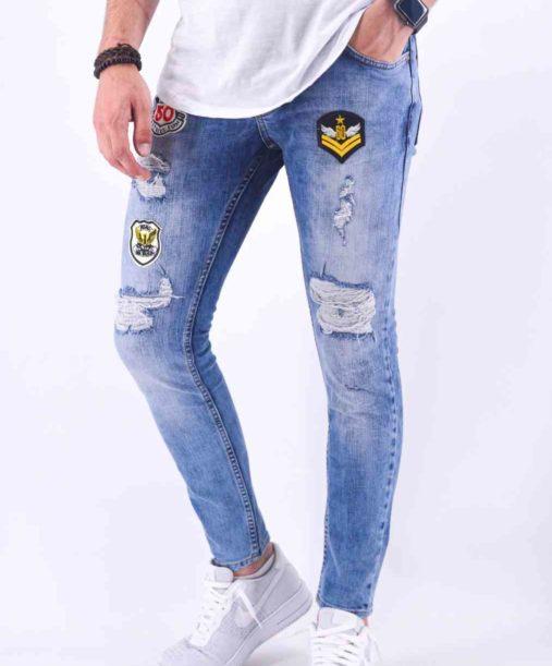 Jean slim bleu clair patch - Mode urbaine