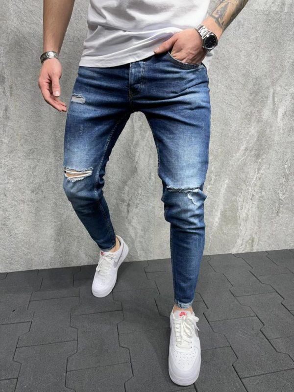 Jean slim destroy bleu - Mode urbaine B6060