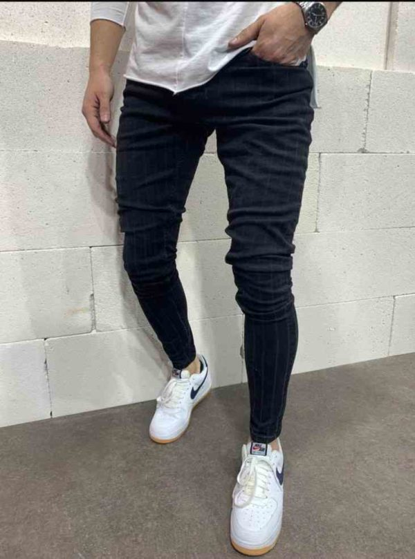 Jean skinny noir à rayure homme