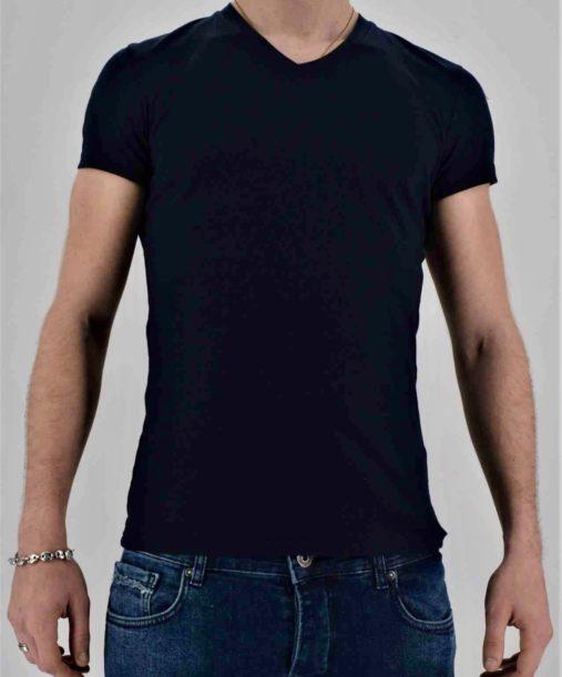 tee-shirt noir homme - t shirt col v
