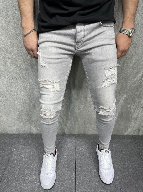 Jeans skinny homme effet déchiré gris - Mode urbaine