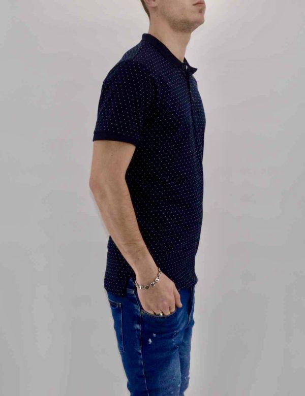 Polo homme - Polo Bleu Navy à pois blanc Homme