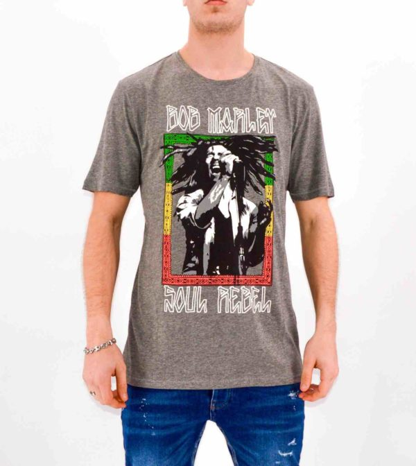 ONLY and SONS - Tee SHIRT BOB MARLEY gris