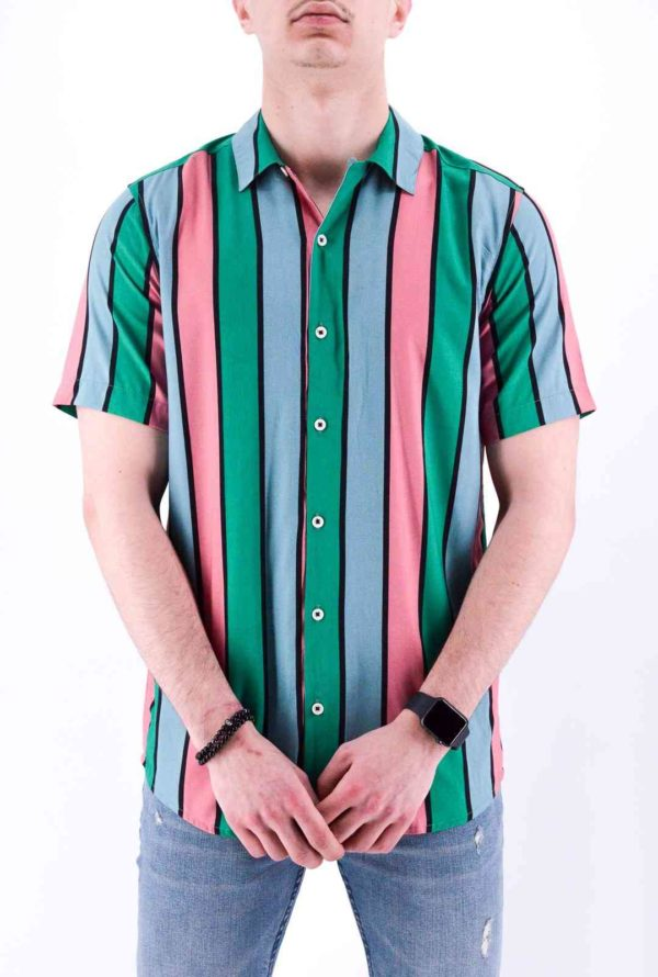 MODE URBAINE - CHEMISE homme A RAYURE MANCHE COURTE HOMME
