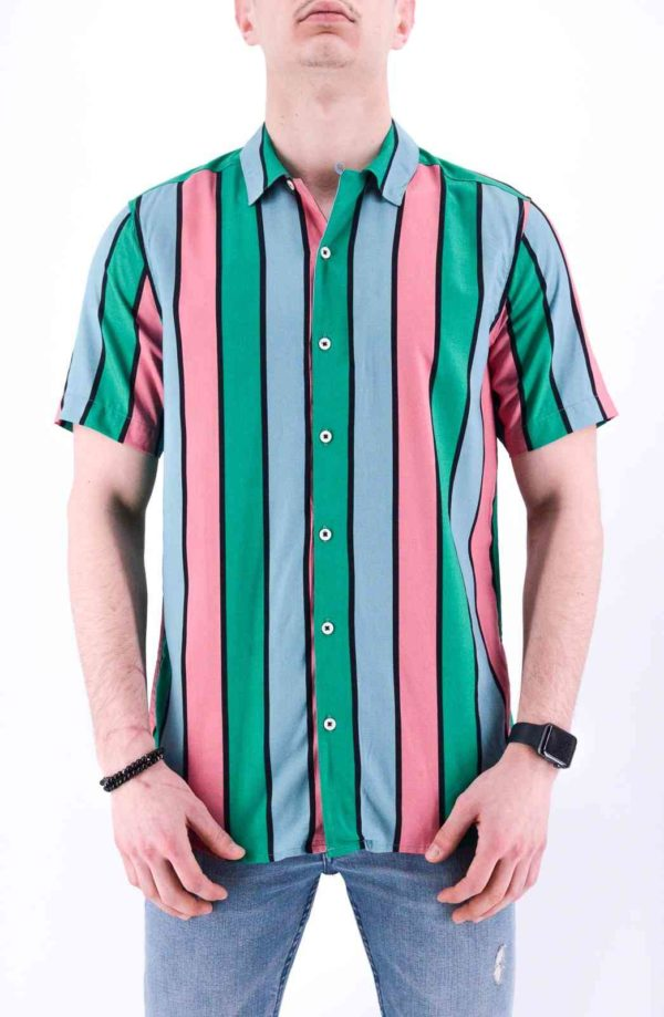 CHEMISE A RAYURE MANCHE COURTE HOMME