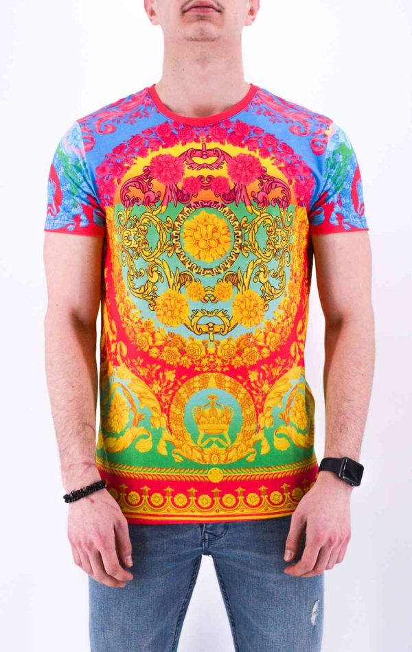 T shirt multicolore style baroque - Mode urbaine