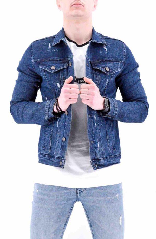 veste destroy en jean bleu brut homme