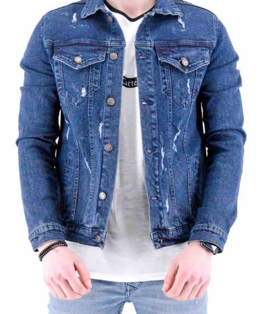 veste en jean bleu brut destroy homme