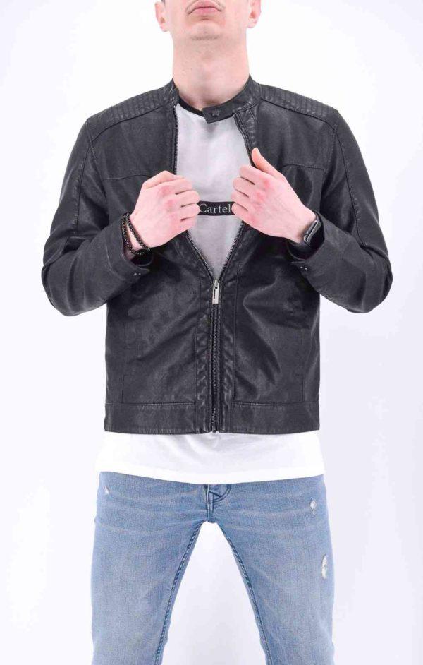 veste motard style cuir noir homme