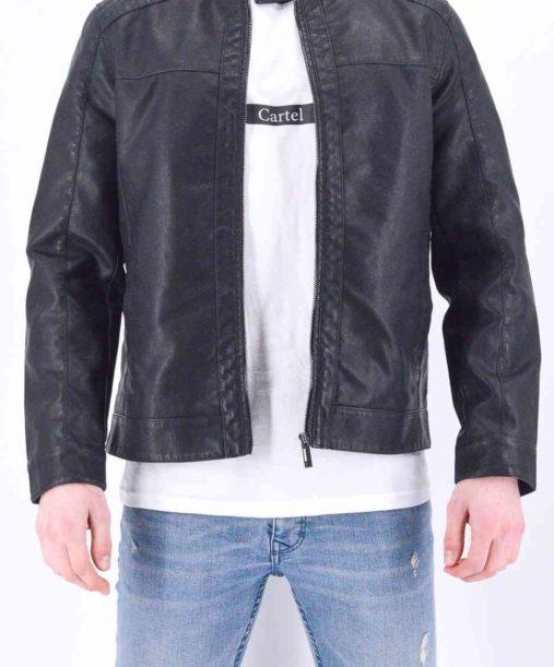 veste cuir motard style cuir noir homme