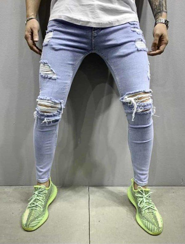 Jeans slim destroy bleu homme - Mode urbaine