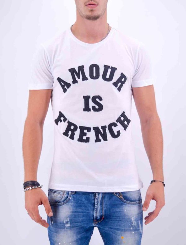 Amour is french - t shirt amour is french blanc - Mode urbaine AD-18 B-N
