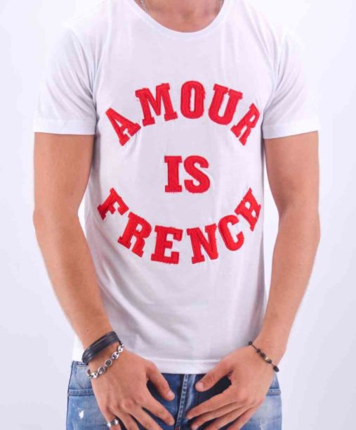 """T SHIRT AMOUR IS FRENCH"""" BLANC ET ROUGE - Mode Urbaine"""
