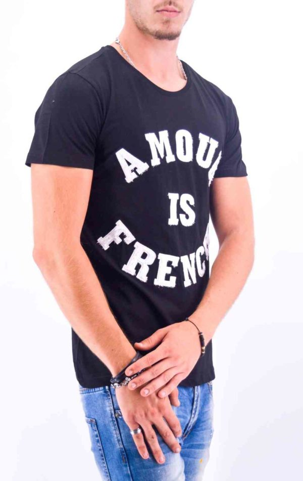 """TEE-SHIRT """"AMOUR IS FRENCH"""" NOIR HOMME - Mode Urbaine"""