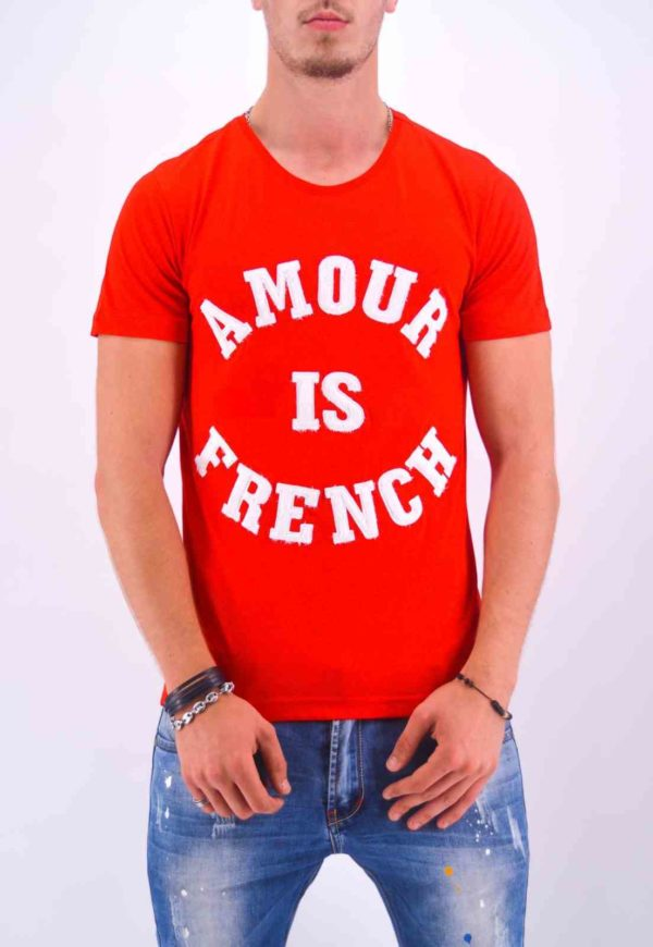 T SHIRT AMOUR IS FRENCH ROUGE HOMME - Mode Urbaine AD-18 R