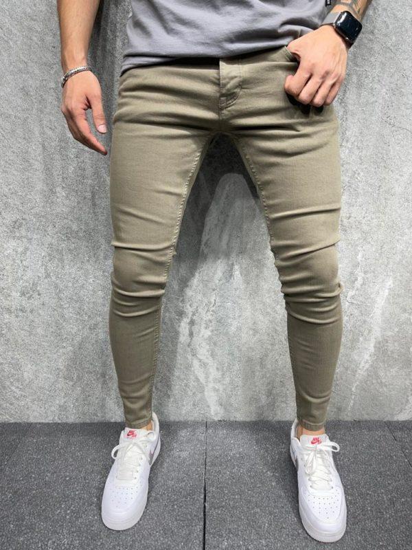 Jean stretch skinny kaki - Mode urbaine b6349-1