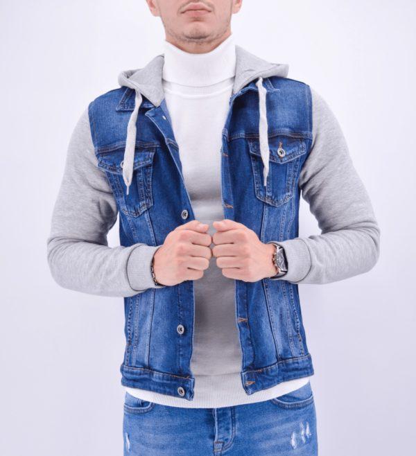 veste en jean bleu à capuche
