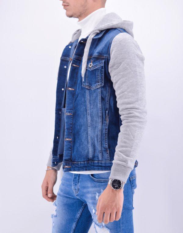 veste en jean à capuche bleu