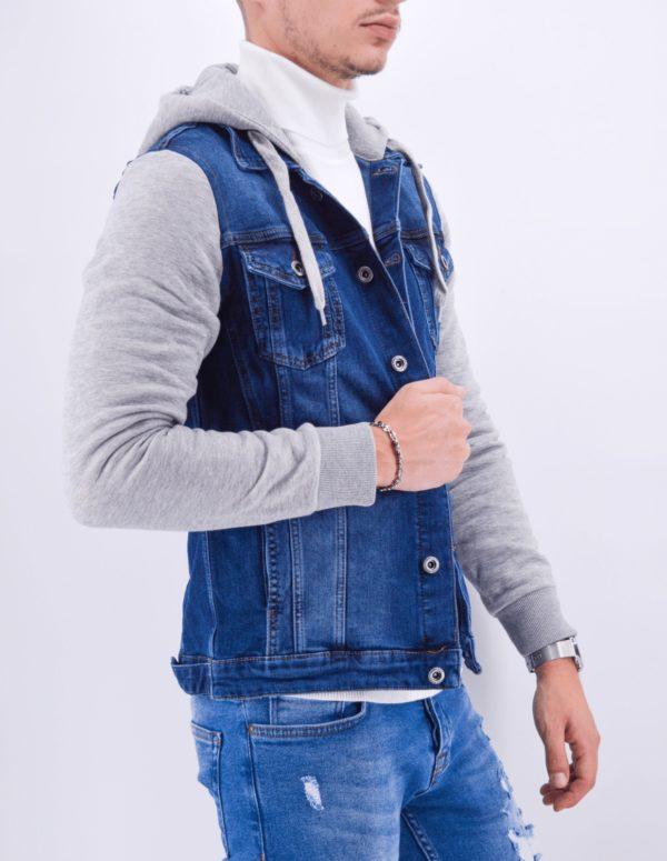 veste en jean à capuche bleu slim