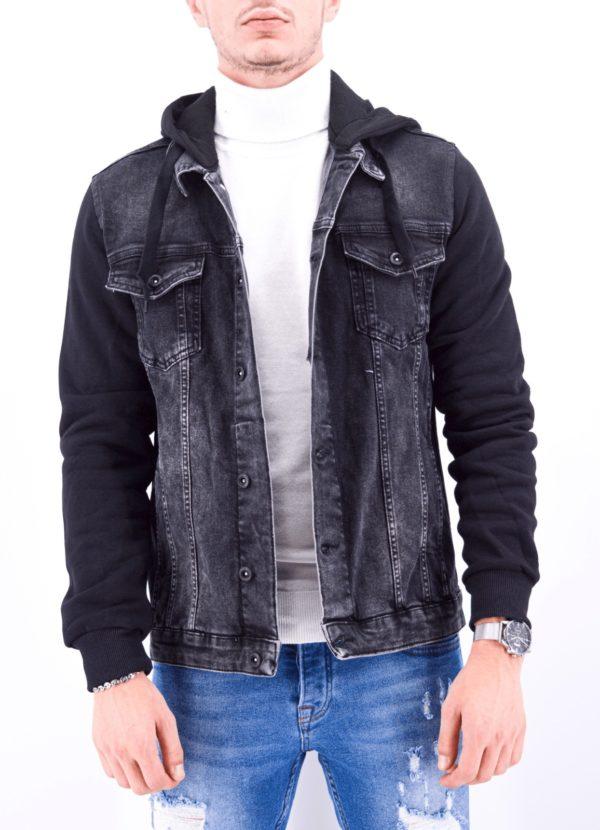 veste en jean capuche noire à capuche