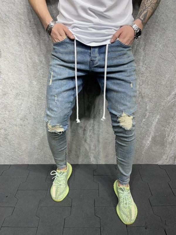 Jeans skinny destroy bleu 6O/B5877