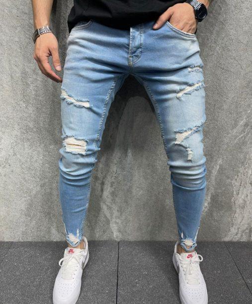 Jean skinny bleu destroy homme - Mode urbaine