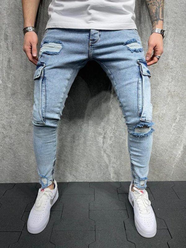 Jeans skinny destroy bleu homme - Mode urbaine B6009
