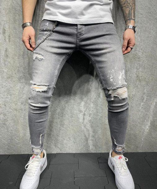 Jeans skinny homme effet déchiré gris - Mode urbaine B5899