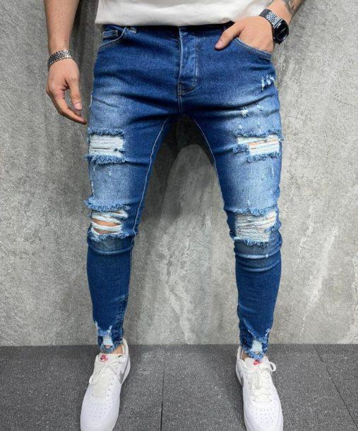 Jean skinny destroy bleu - Mode urbaine