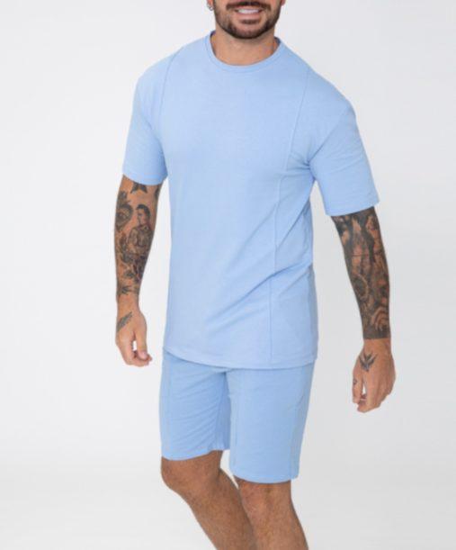 Ensemble t-shirt short bleu - mode urbaine
