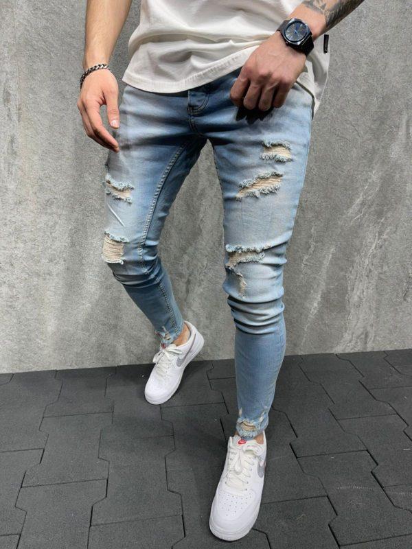 jean homme skinny bleu destroy - mode urbaine b6179