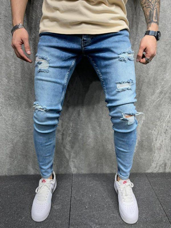 jean skinny bleu homme - mode urbaine b6107