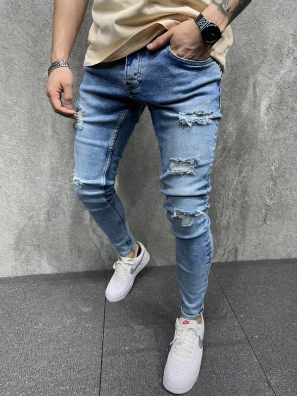 jean skinny bleu homme - mode urbaine b6107.