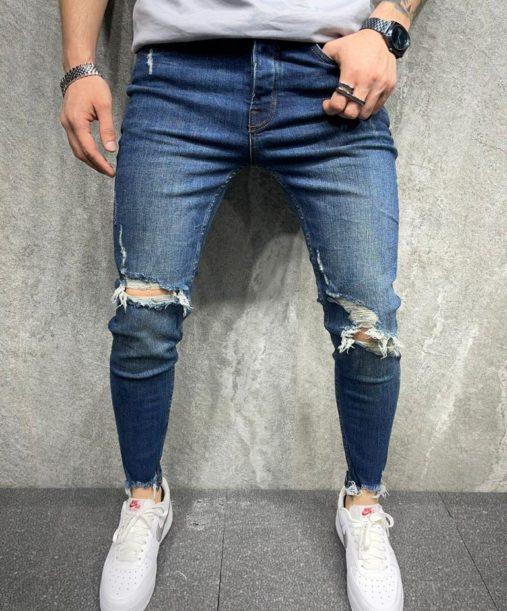jean skinny bleu homme - mode urbaine b8097