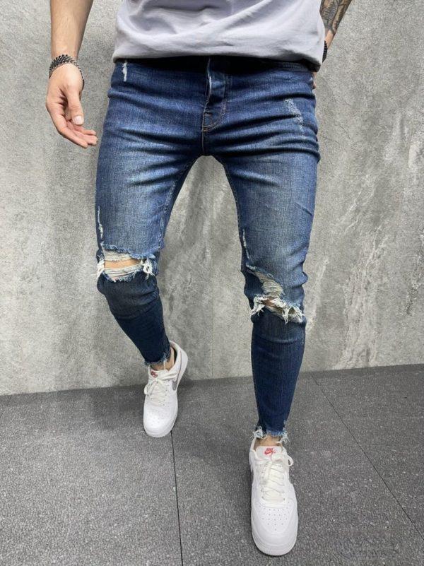 jean skinny bleu homme - mode urbaine b8097.