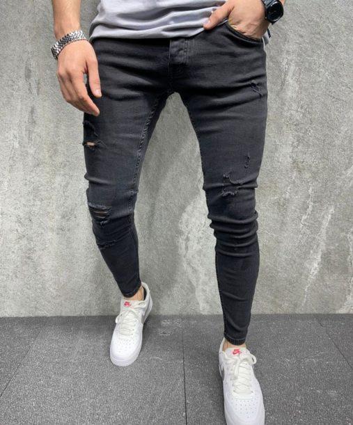 jean skinny noir destroy - Mode urbaine B8134