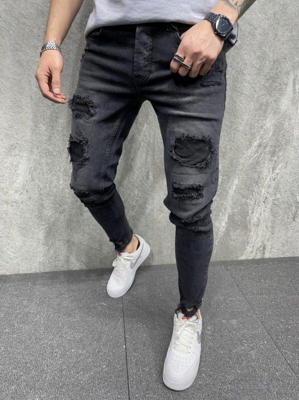 jean homme skinny noir destroy - mode urbaine i0106