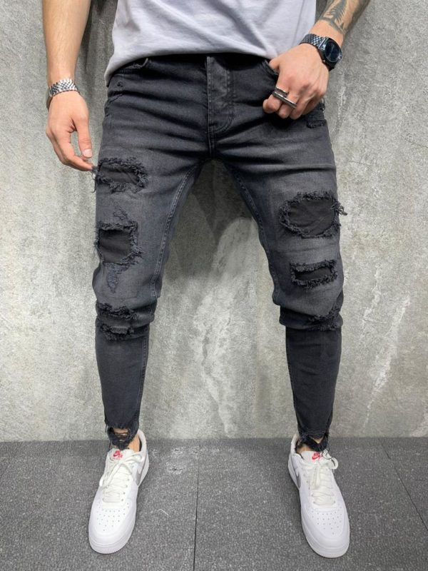 jean homme skinny noir destroy mode urbaine i0106.