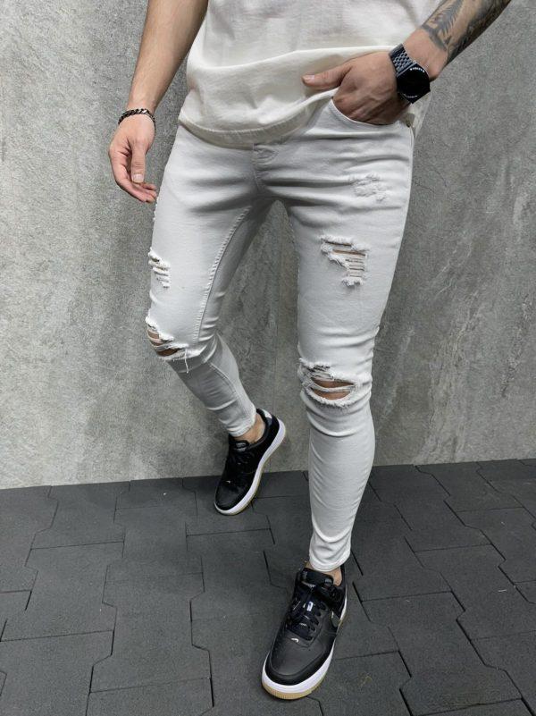 jean homme skinny blanc b6127 2