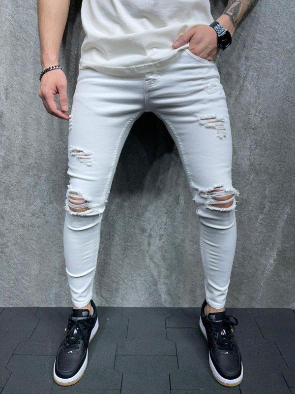 jean homme skinny blanc b6127.
