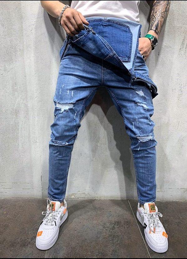 Salopette jean bleu destroy homme - slim - Mode urbaine