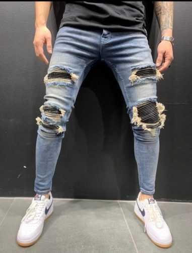 Jean skinny destroy bleu homme - Mode urbaine