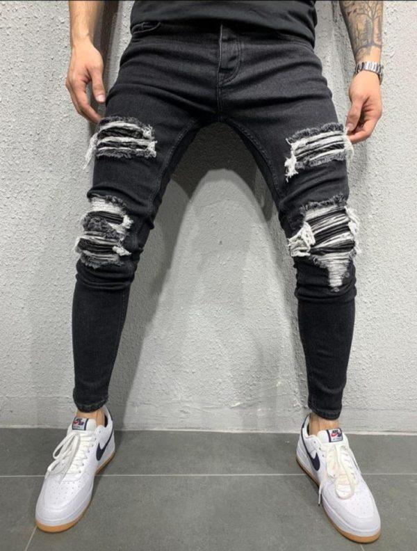Jean skinny destroy noir - Mode urbaine
