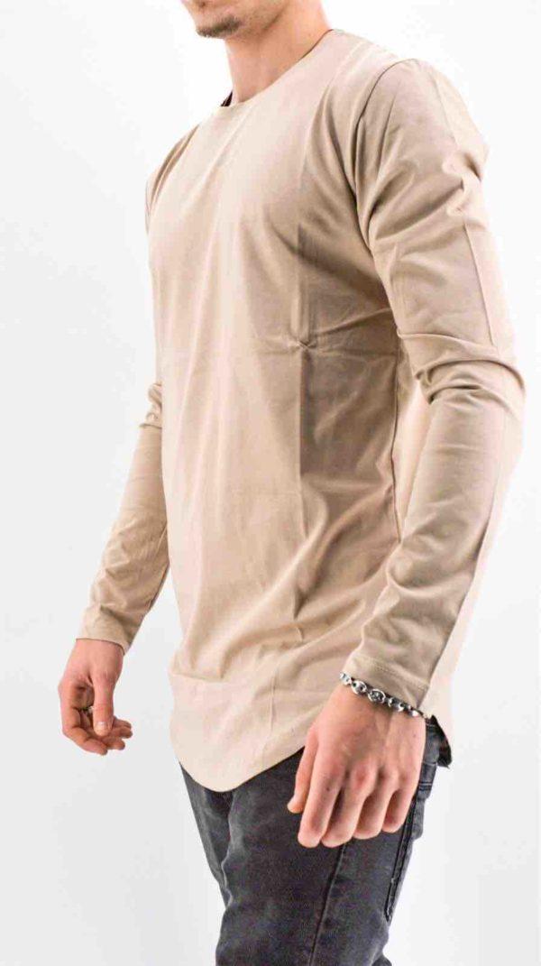 Tee-shirt manches longues camel oversize masculin