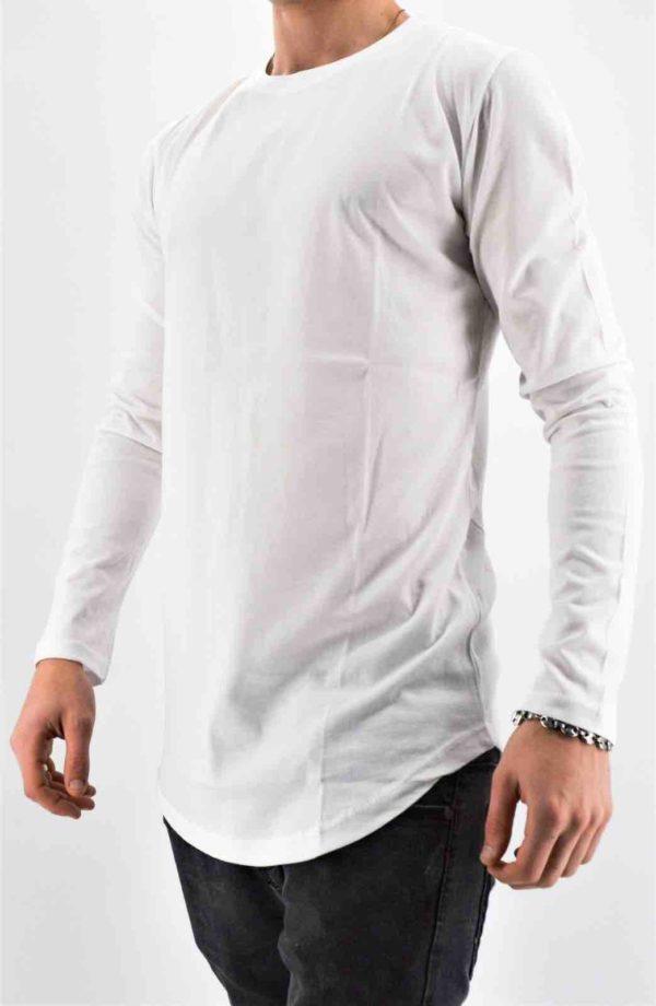 T-shirt manches longues blanc oversize masculin