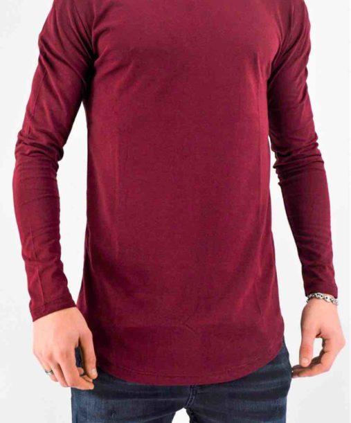 T shirt manches longues bordeaux oversize - Mode urbaine