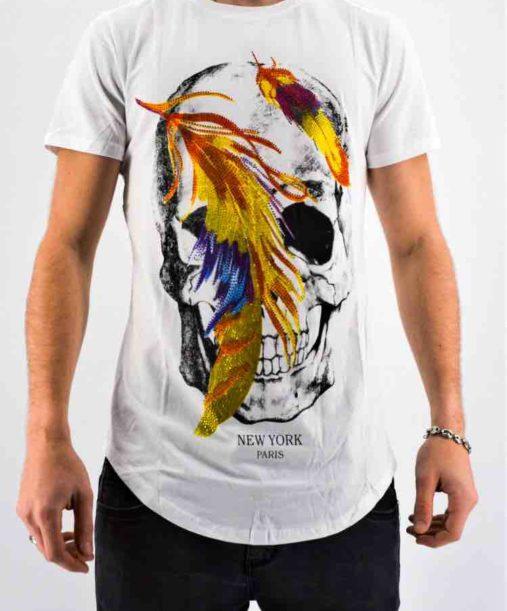 T shirt strass tête de mort blanc - Mode urbaine