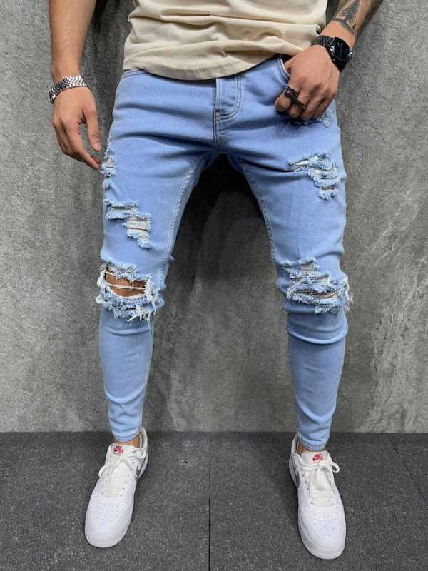 Jean skinny destroy bleu - Mode urbaine b5525