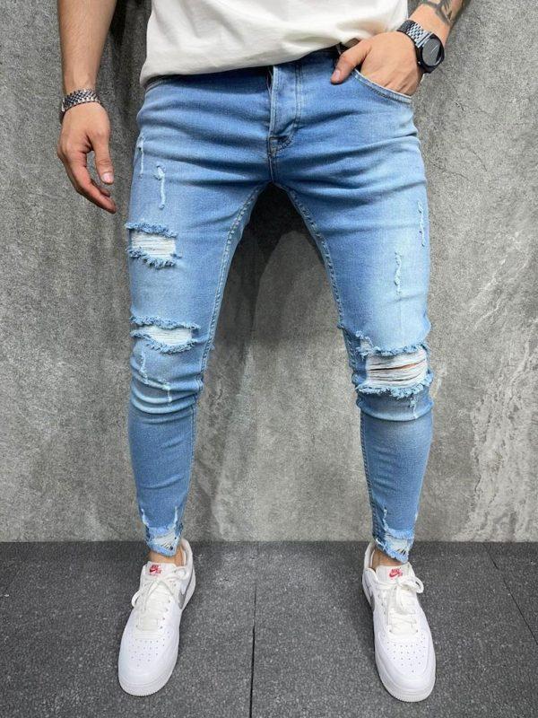 Jeans skinny bleu destroy homme - Mode Urbaine